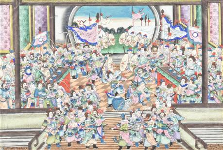 A Chinese School large painting of a Festival