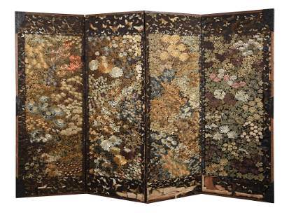 A Japanese Four Fold Textile Screen