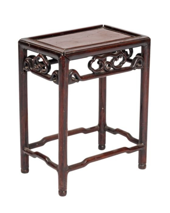 2: A small Chinese wood altar table with spandrels de