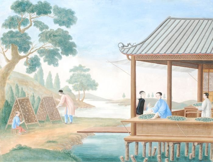 8: A China trade painting on paper in colours depicti