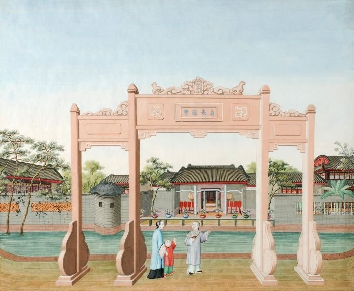 10: A Chinese gouache painting on paper depicting a fa