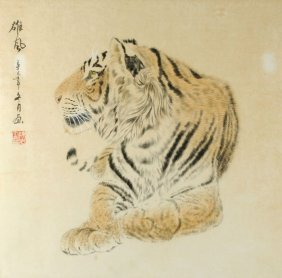 11: A Chinese painting of a tiger, titled Xiong Feng (
