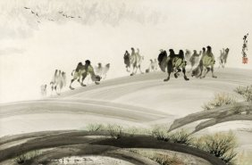 14: A Chinese painting of camels within a landscape, c
