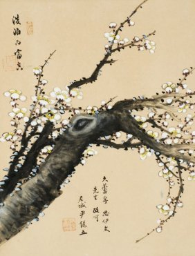A Chinese Painting Of A Prunus Blossom Titled Tanb