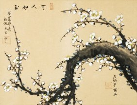 16: A Chinese painting of a prunus blossom titled Tanb