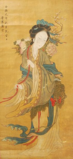 23: A Chinese painting on silk depicting a woman stand