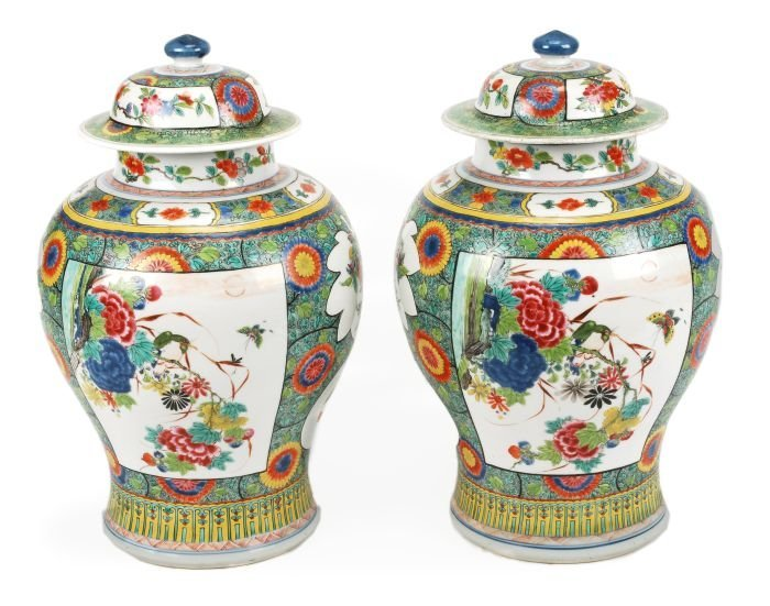 137: A pair of Chinese porcelain famille rose/verte bal