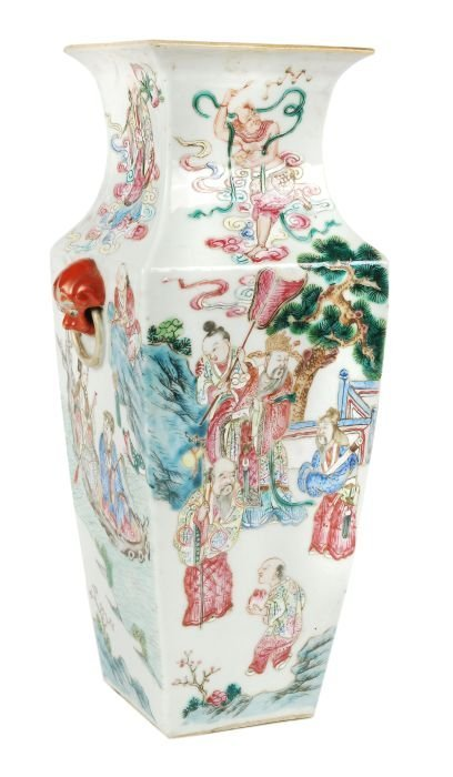191: A Chinese famille rose vase of rectangular taperin