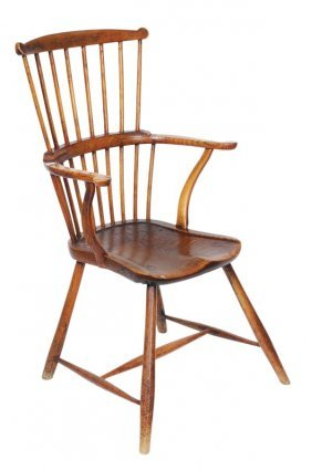 274: An ash and elm comb back windsor armchair, late 18
