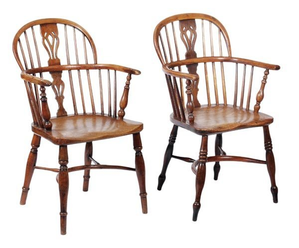 285: Two ash, elm and yew windsor armchairs, second qua