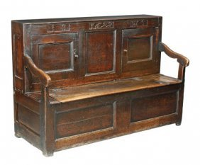 An Oak Hall Settle, 17th Century And Later, The Up