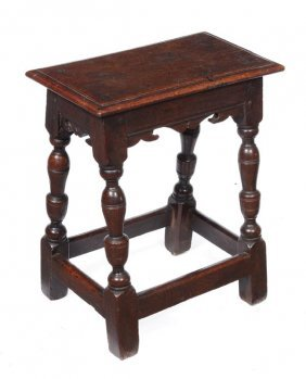 293: A oak joint stool, late 17th/early 18th century, r