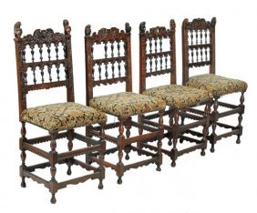 294: A matched set of four walnut chairs in 17th centur