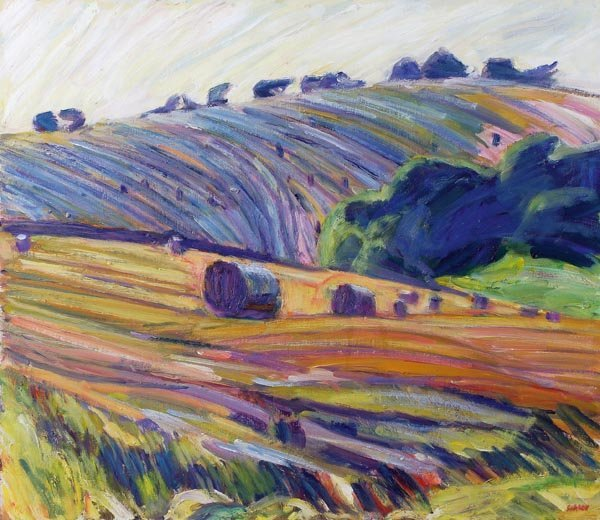 2: Nick Schlee (b. 1931) Bales and steep hill Oil on
