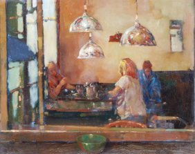 5: Ken Moroney (b. 1949) A bar interior Oil on board