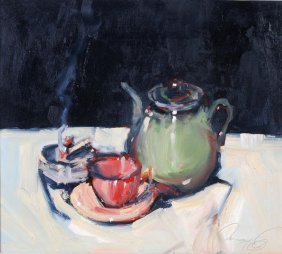 Ken Moroney (b. 1949) Tea Table Still Life Oil On