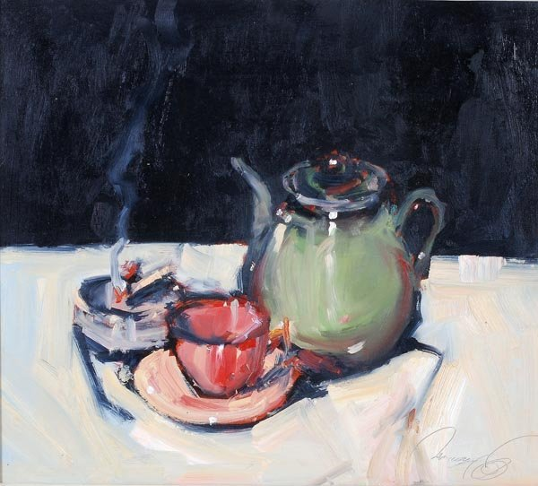 8: Ken Moroney (b. 1949) Tea table still life Oil on