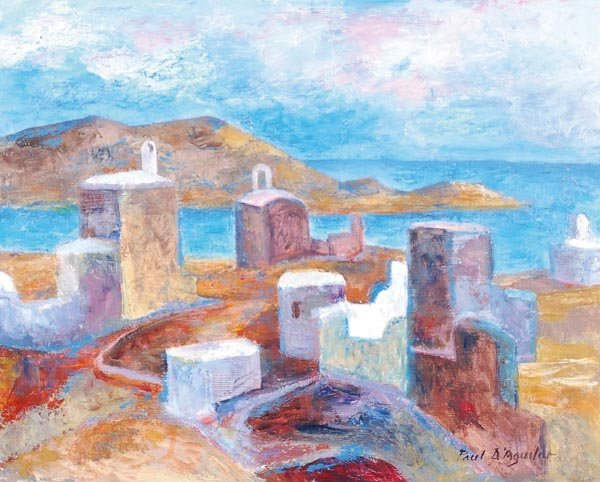9: Paul d' Aguilar (b.1927) Ios, Greece Oil on board
