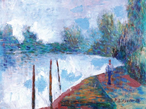 11: Paul d' Aguilar (b.1927) Walking by the river Oil