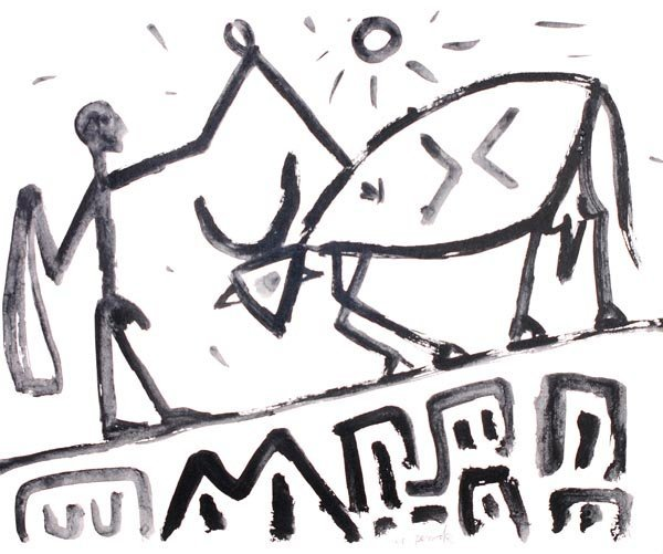13: A. R. Penck (b.1939) Untitled Monochrome acrylic o