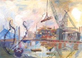 Robert Soden (b. 1955) Shipyard, Thames, C. 1985 W