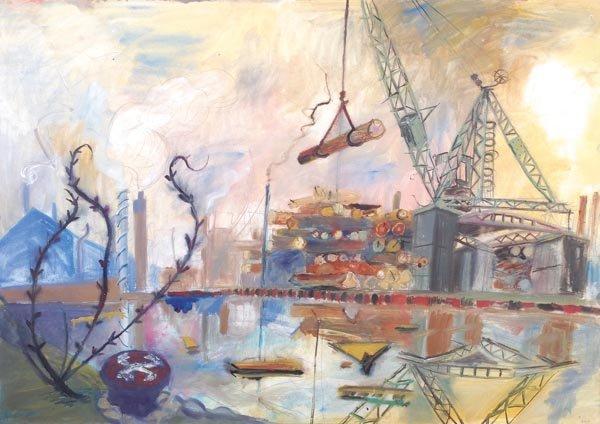 17: Robert Soden (b. 1955) Shipyard, Thames, c. 1985 W
