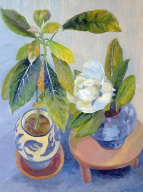 24: Elvic Steele (1920-1997) Still life of flowers in