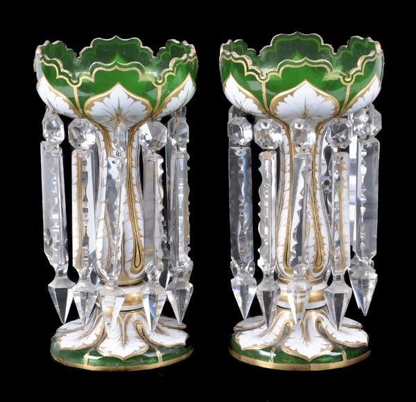 200: A pair of mid Victorian green glass and white over