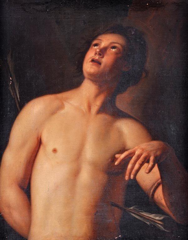 12: Follower of Guido Reni St. Sebastian Oil on canvas