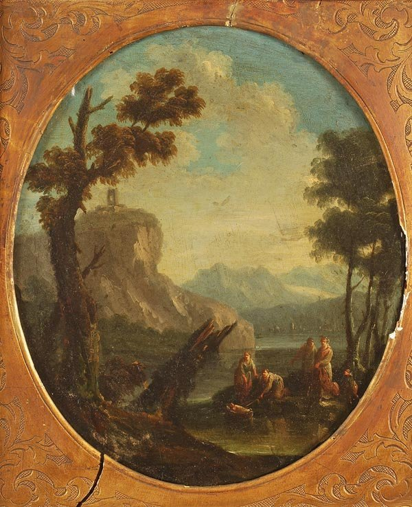 16: Circle of Marco Ricci The finding of Moses Oil on