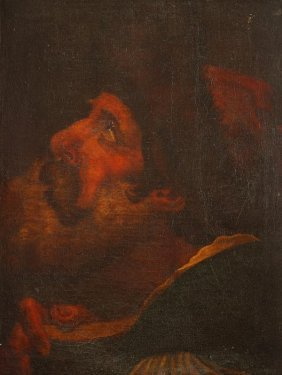 Follower Of Gaetano Gandolfi Study Of A Man Holdin