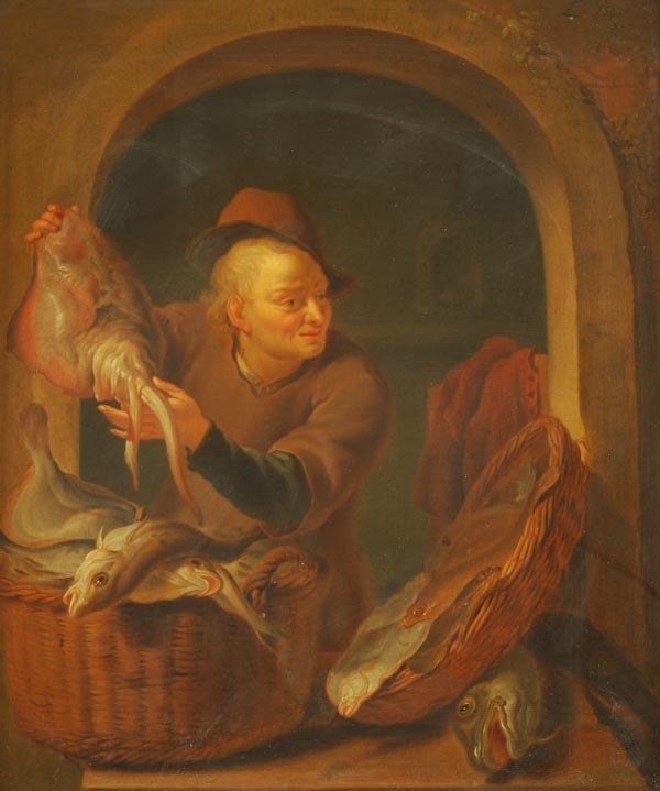23: Louis de Moni (1698-1771) A fish seller at a casem
