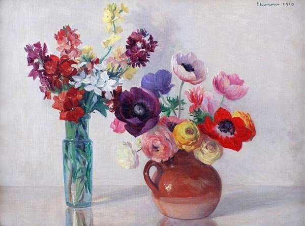 14: Gerard Chowne (1875-1917) Vase and jug with flower