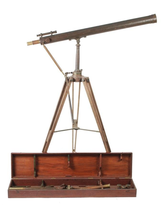 A brass three-inch refracting telescope  Unsigned