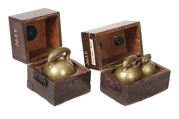 Three brass Imperial standard ball weights  Bate,