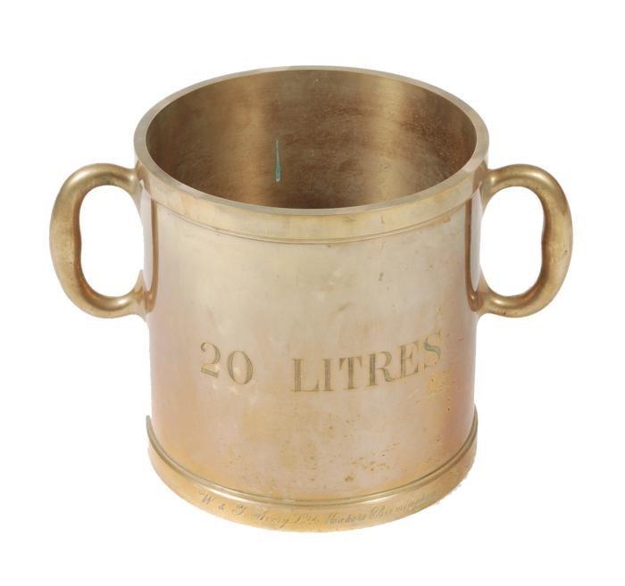A brass twenty-litre capacity measure  W. and T. A