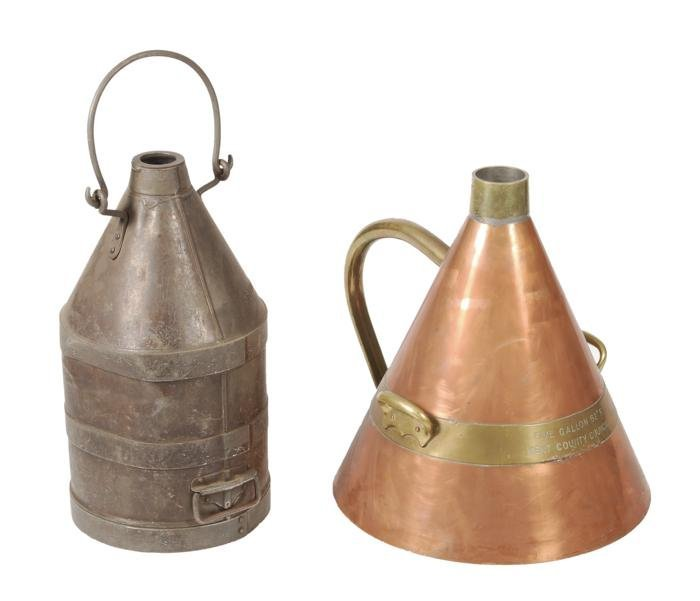 A copper and brass Imperial conical five-gallon fl