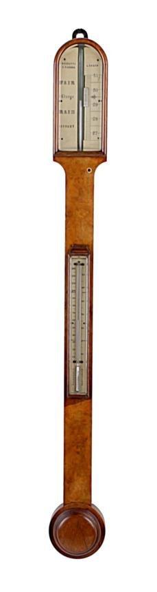 A Victorian burr walnut mercury stick barometer  N