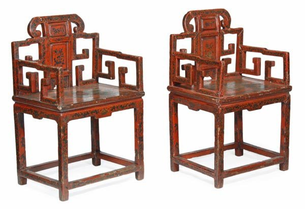 A pair of Chinese lacquer japanned chairs decorate