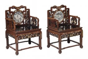 A pair of Chinese carved hardwood and mother of pe