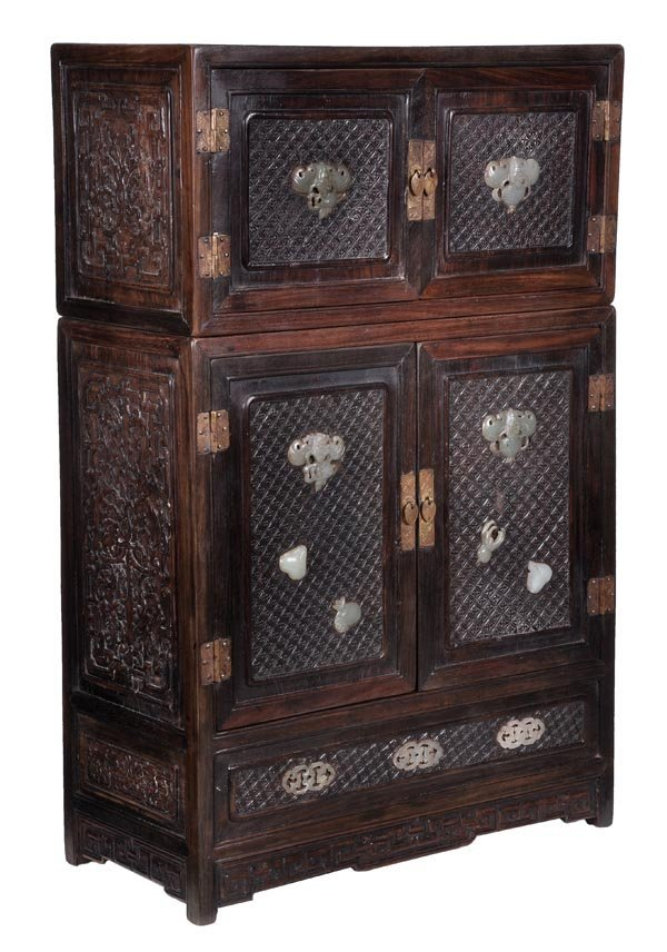 A Chinese huanghuali miniature cabinet of typical