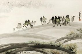 A Chinese painting of camels within a landscape, c