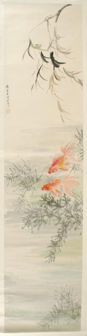 A Chinese scroll painting of fish, colour on paper
