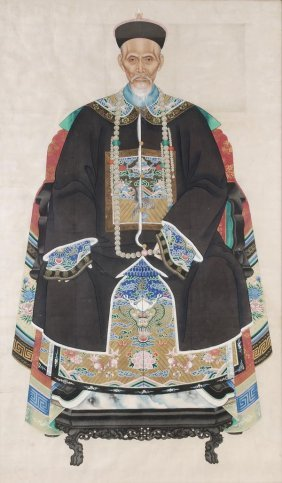 A fine, large, Chinese ancestor portrait depicting