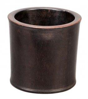 A Chinese hardwood brush pot of very slightly flar