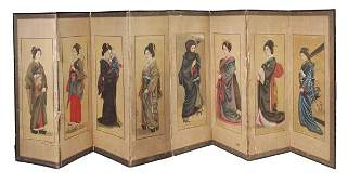 A series of eight Japanese paintings in ink and co