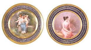 A pair of Vienna-style cabinet plates, each painte