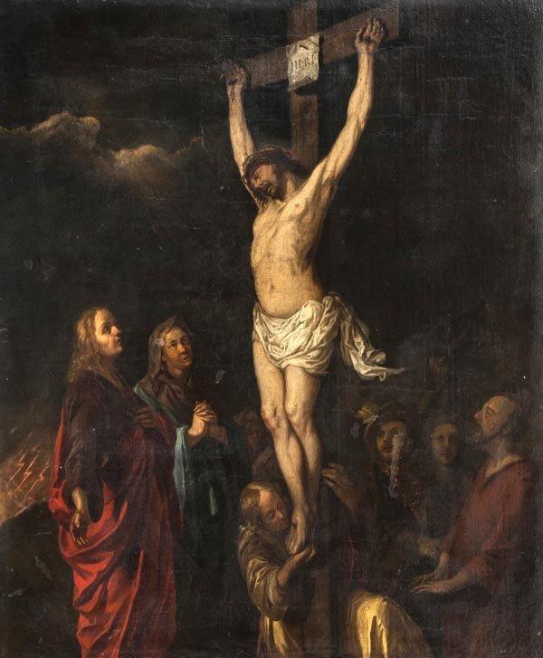 Circle of Jan van Noordt, Crucifixion, Oil on canv