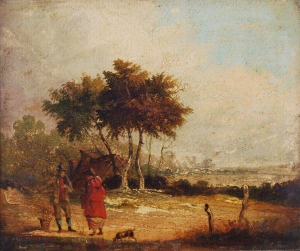 Manner of Thomas Gainsborough, Travellers in a lan