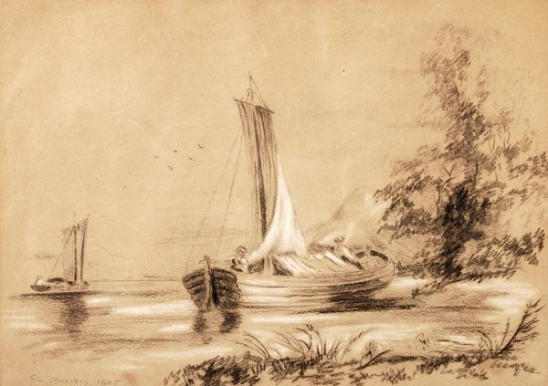 George Chinnery (1774-1852), By the shore, Charcoa